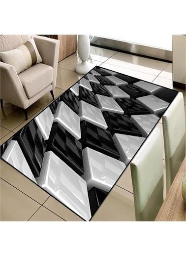 Halı Siyah Beyaz Kutular 3D Modern  3D Salon Halıları 80X150Cm Renkli